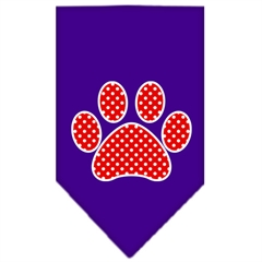 Mirage Pet Products Red Swiss Dot Paw Screen Print Bandana Purple Large