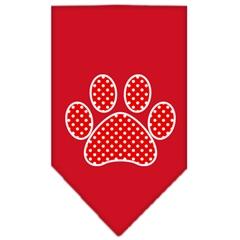 Mirage Pet Products Red Swiss Dot Paw Screen Print Bandana Red Large