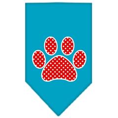 Mirage Pet Products Red Swiss Dot Paw Screen Print Bandana Turquoise Large