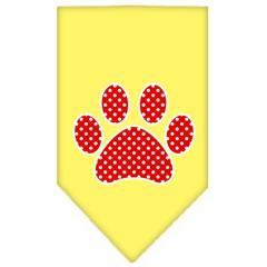 Mirage Pet Products Red Swiss Dot Paw Screen Print Bandana Yellow Large