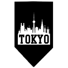Mirage Pet Products Tokyo Skyline Screen Print Bandana Black Large