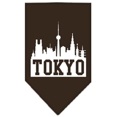 Mirage Pet Products Tokyo Skyline Screen Print Bandana Cocoa Large