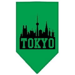 Mirage Pet Products Tokyo Skyline Screen Print Bandana Emerald Green Small