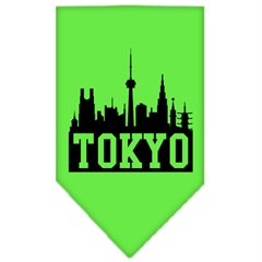 Mirage Pet Products Tokyo Skyline Screen Print Bandana Lime Green Large