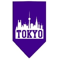 Mirage Pet Products Tokyo Skyline Screen Print Bandana Purple Large
