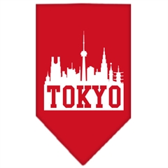 Mirage Pet Products Tokyo Skyline Screen Print Bandana Red Large