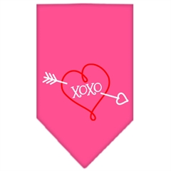Mirage Pet Products XOXO Screen Print Bandana Bright Pink Small