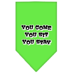 Mirage Pet Products You Come, You Sit, You Stay Screen Print Bandana Lime Green Small
