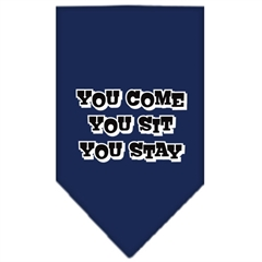 Mirage Pet Products You Come, You Sit, You Stay Screen Print Bandana Navy Blue large