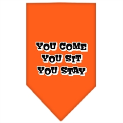 Mirage Pet Products You Come, You Sit, You Stay Screen Print Bandana Orange Large