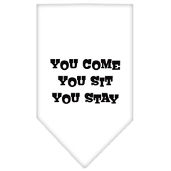 Mirage Pet Products You Come, You Sit, You Stay Screen Print Bandana White Large