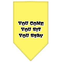 Mirage Pet Products You Come, You Sit, You Stay Screen Print Bandana Yellow Large
