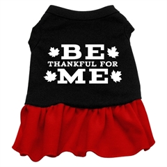 Mirage Pet Products Be Thankful for Me Screen Print Dress Black with Red Sm (10)