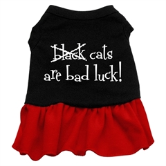 Mirage Pet Products Black Cats are Bad Luck Screen Print Dress Black with Red Lg (14)