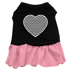 Mirage Pet Products Chevron Heart Screen Print Dress Black with Pink Med (12)