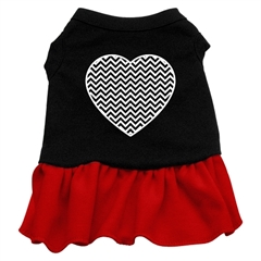 Mirage Pet Products Chevron Heart Screen Print Dress Black with Red Med (12)