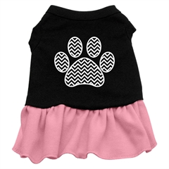 Mirage Pet Products Chevron Paw Screen Print Dress Black with Pink XXXL (20)