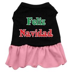 Mirage Pet Products Feliz Navidad Screen Print Dress Black with Pink XXL (18)
