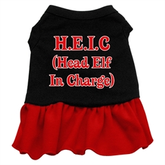 Mirage Pet Products Head Elf in Charge Screen Print Dress Black with Red XL (16)