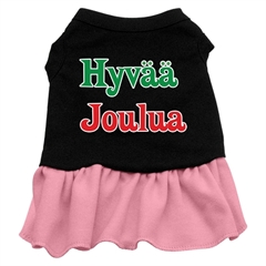 Mirage Pet Products Hyvaa Joulua Screen Print Dress Black with Pink XXXL (20)