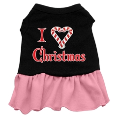 Mirage Pet Products I Love Christmas Screen Print Dress Black with Pink XXXL (20)