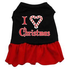Mirage Pet Products I Love Christmas Screen Print Dress Black with Red Med (12)