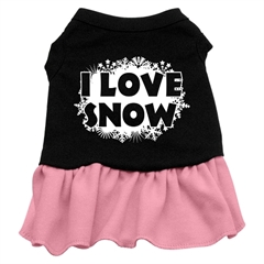 Mirage Pet Products I Love Snow Screen Print Dress Black with Pink Med (12)