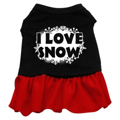 Mirage Pet Products I Love Snow Screen Print Dress Black with Red Med (12)