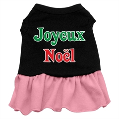 Mirage Pet Products Joyeux Noel Screen Print Dress Black with Pink XS (8)