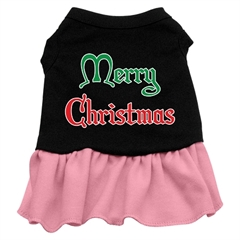 Mirage Pet Products Merry Christmas Screen Print Dress Black with Pink XL (16)