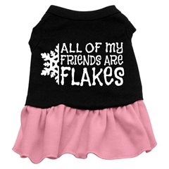 Mirage Pet Products All my friends are Flakes Screen Print Dress Black with Pink XL (16)
