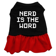 Mirage Pet Products Nerd is the Word Screen Print Dress Black with Red Sm (10)