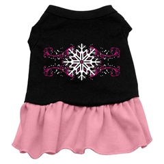 Mirage Pet Products Pink Snowflake Screen Print Dress Black with Pink Lg (14)