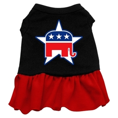 Mirage Pet Products Republican Screen Print Dress Black with Red XL (16)