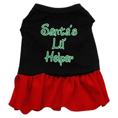 Mirage Pet Products Santa's Lil Helper Screen Print Dress Black with Red XXL (18)