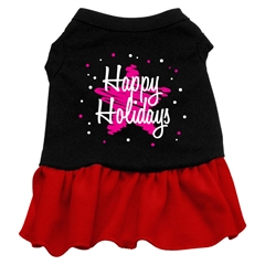 Mirage Pet Products Scribble Happy Holidays Screen Print Dress Black with Red Med (12)