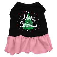 Mirage Pet Products Scribble Merry Christmas Screen Print Dress Black with Pink XS (8)