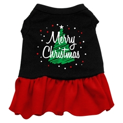Mirage Pet Products Scribble Merry Christmas Screen Print Dress Black with Red Sm (10)