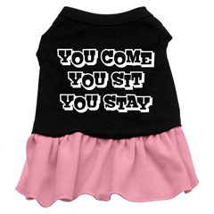 Mirage Pet Products You Come, You Sit, You Stay Screen Print Dress Black with Pink XS (8)