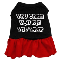 Mirage Pet Products You Come, You Sit, You Stay Screen Print Dress Black with Red XS (8)