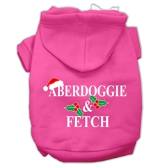 Mirage Pet Products Aberdoggie Christmas Screen Print Pet Hoodies Bright Pink Size M (12)