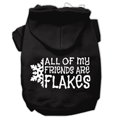 Mirage Pet Products All my friends are Flakes Screen Print Pet Hoodies Black Size XXXL(20)