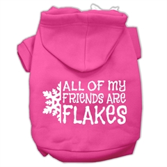 Mirage Pet Products All my friends are Flakes Screen Print Pet Hoodies Bright Pink Size XL (16)