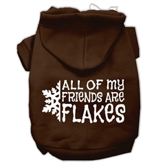 Mirage Pet Products All my friends are Flakes Screen Print Pet Hoodies Brown Size L (14)