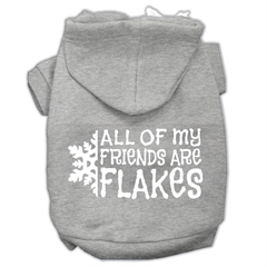 Mirage Pet Products All my friends are Flakes Screen Print Pet Hoodies Grey Size L (14)