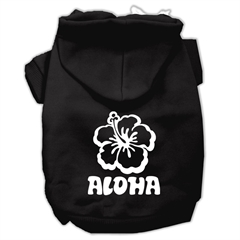 Mirage Pet Products Aloha Flower Screen Print Pet Hoodies Black Size Med (12)
