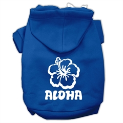 Mirage Pet Products Aloha Flower Screen Print Pet Hoodies Blue Size Sm (10)