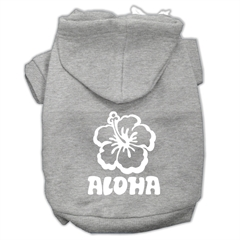 Mirage Pet Products Aloha Flower Screen Print Pet Hoodies Grey Size Med (12)