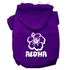 Mirage Pet Products Aloha Flower Screen Print Pet Hoodies Purple Size XL (16)