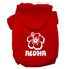 Mirage Pet Products Aloha Flower Screen Print Pet Hoodies Red Size XXXL (20)